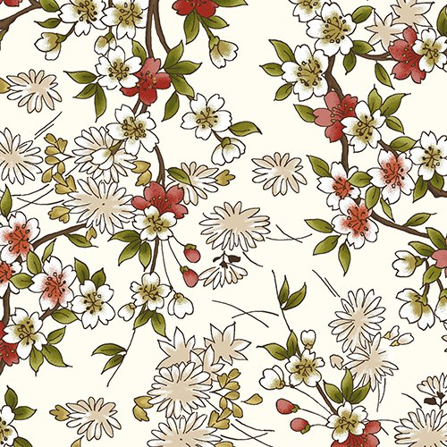 Ivory Cherry Blossom Sprays - Asian Japanese Floral Quilt Fabric (By the Half Yard)
