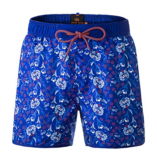 Lined Swim Hawaiian Trunks (PAGE ONE Mens Womens Swim Trunks Quick Dry Surfing Beach Shorts with Full Mesh Lining with Pockets/XXXL)