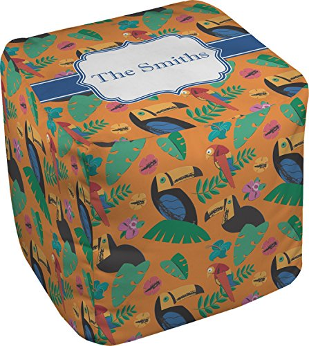 RNK Shops Toucans Cube Pouf Ottoman - 13'' (Personalized) by RNK Shops