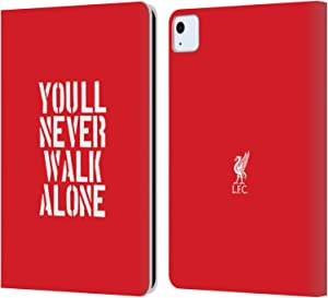 Head Case Designs Officially Licensed Liverpool Football Club Stencil Red Liver Bird YNWA PU Leather Book Wallet Case Cover Compatible with Apple iPad Air (2020)