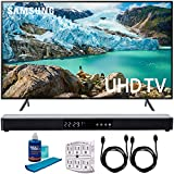Samsung 65' RU7100 LED Smart 4K UHD TV 2019 Model (UN65RU7100FXZA) with Screen Cleaner for LED TVs, SurgePro 6-Outlet Surge Adapter, 2X HDMI Cable & Home Theater 31' Soundbar
