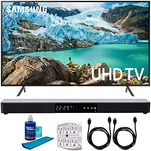 Samsung 65″ RU7100 LED Smart 4K UHD TV 2019 Model (UN65RU7100FXZA) with Screen Cleaner for LED TVs, SurgePro 6-Outlet Surge Adapter, 2X HDMI Cable & Home Theater 31″ Soundbar