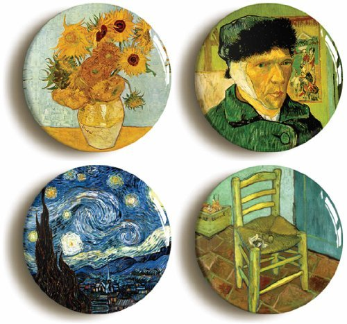 [4 x Vincent Van Gogh Paintings Buttons Pins (Size 1inch Diameter)] (Vincent Van Gogh Starry Night Costume)