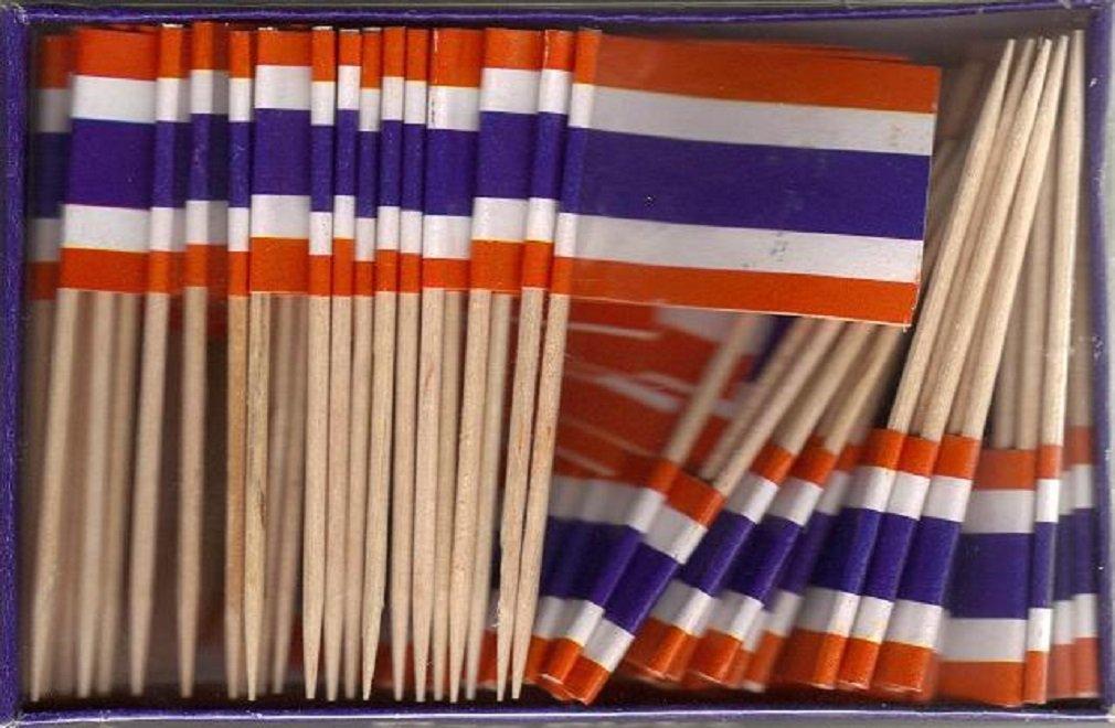 25 Box Wholesale Lot of Thailand Toothpick Flags, 2500 Small Mini Thai Flag Cupcake Toothpicks or Cocktail Picks
