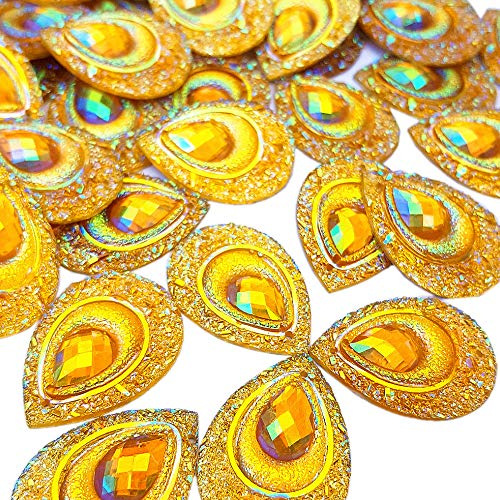 - Sparkly Buttons Drop AB Color Sew On Crafts Rhinestones Flatback Beads Sewing For Costume Wedding Dress Decorations 18x25mm 50pcs (Yellow)