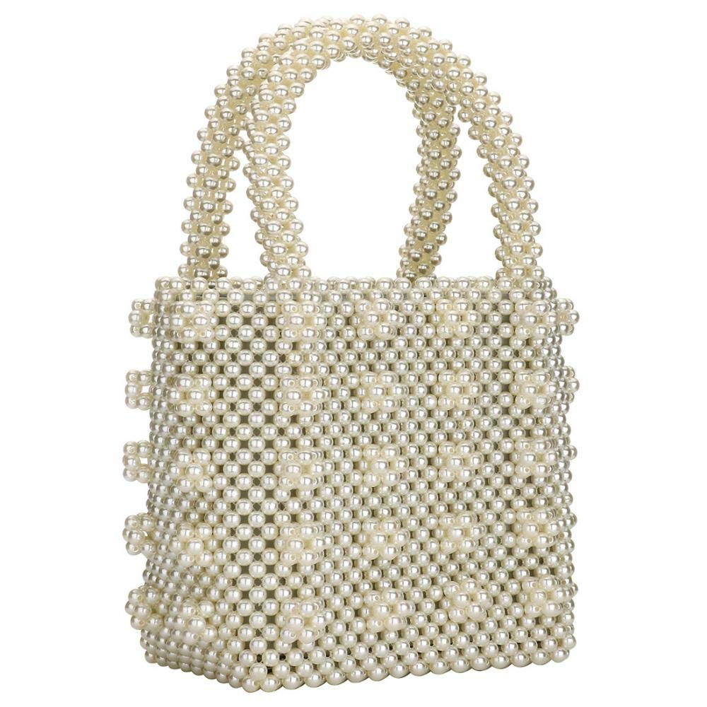 Womens Beaded Handbags Handmade Weave Crystal Pearl Tote Bags