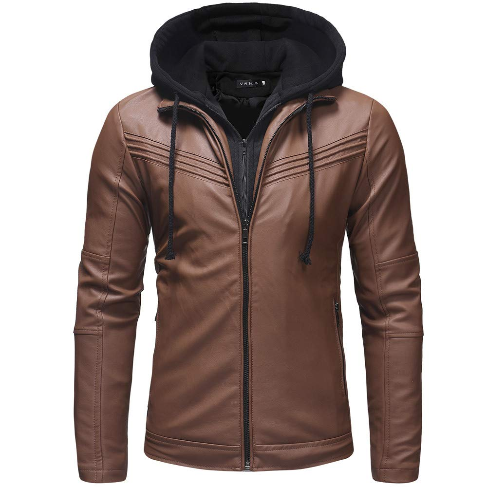 Lightweight Autumn Winter Blouse, Stylish Men's Leather Zipper Hooded Pullover Long Sleeve Coat Jacket Tops (Brown, L)