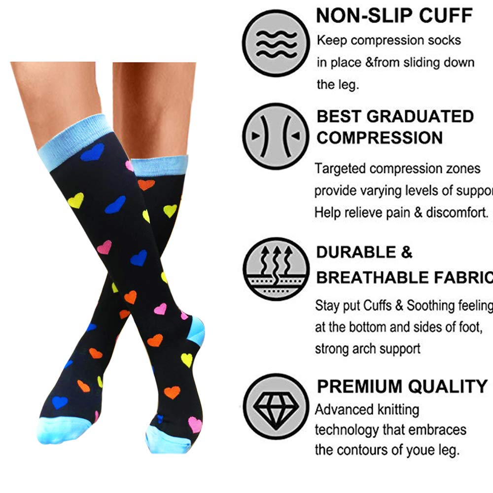 b7bf6fcb0a Amazon.com: Compression Socks (1/6 Pairs), 20-25 mmHg is BEST Graduated  Athletic & Medical for Men & Women, Running, Flight, Travels: Clothing