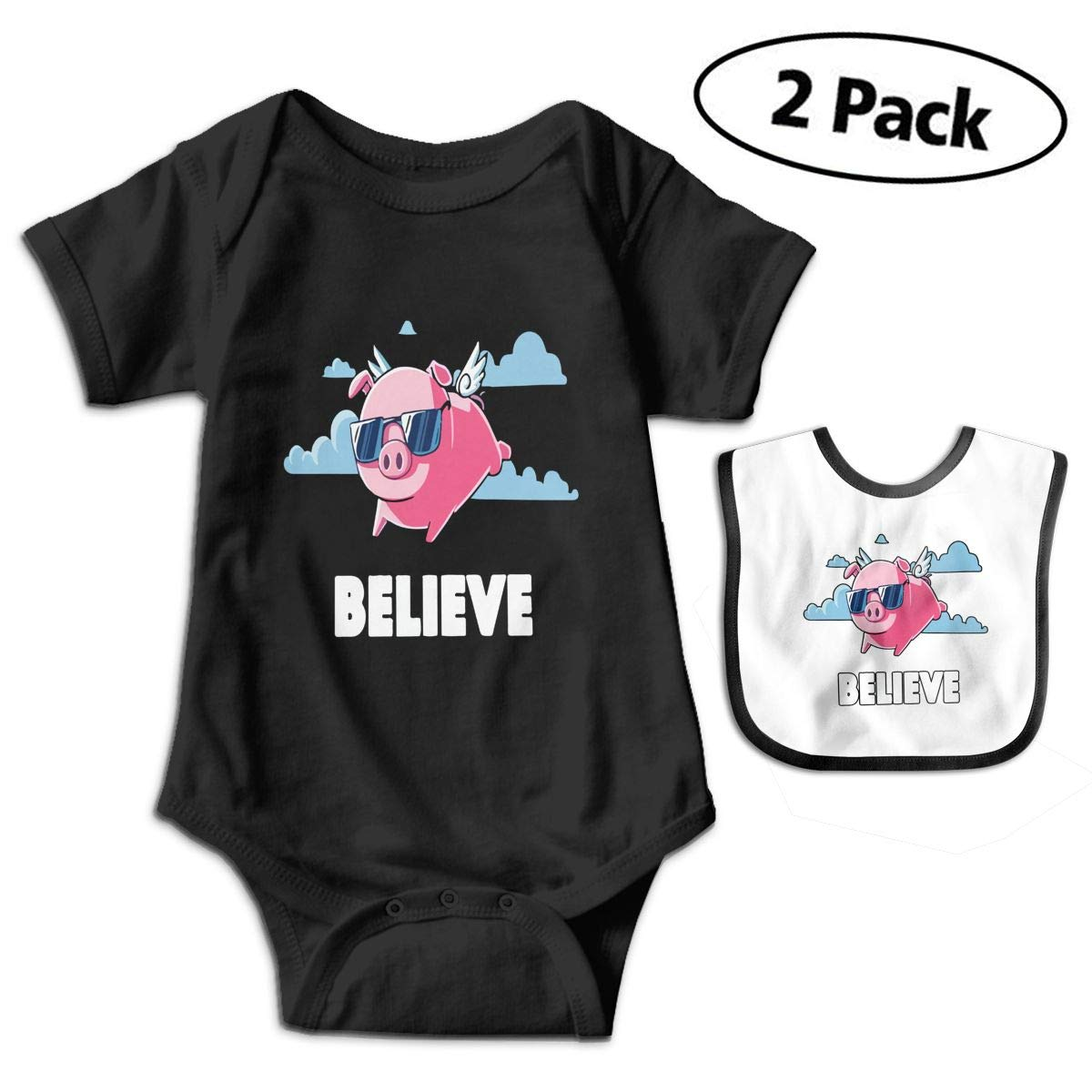 I Believe When Pigs Fly Infant Baby Boys Girls Short Sleeve Romper Bodysuit Outfit Clothes