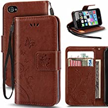 iPhone 4S Case,Korecase Premiun Wallet Leather Credit Card Holder Butterfly Flower Pattern Flip Folio Stand Case for Apple iPhone 4 4S With a Wrist Strap - Brown
