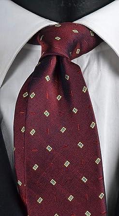 Corbata de hombre burdeos con micro fantasía celeste y beige pura ...