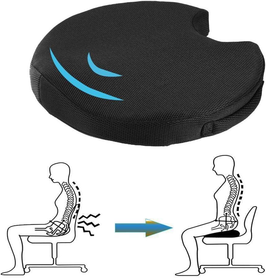 Casa//Ufficio//Auto Cuscino per Sedia per alleviare Il Dolore alla Sciatica Cuscino di Seduta in Memory Foam Comfort eterno Maglia Nera//Pelle Scamosciata Cuscino per Anca Beauty