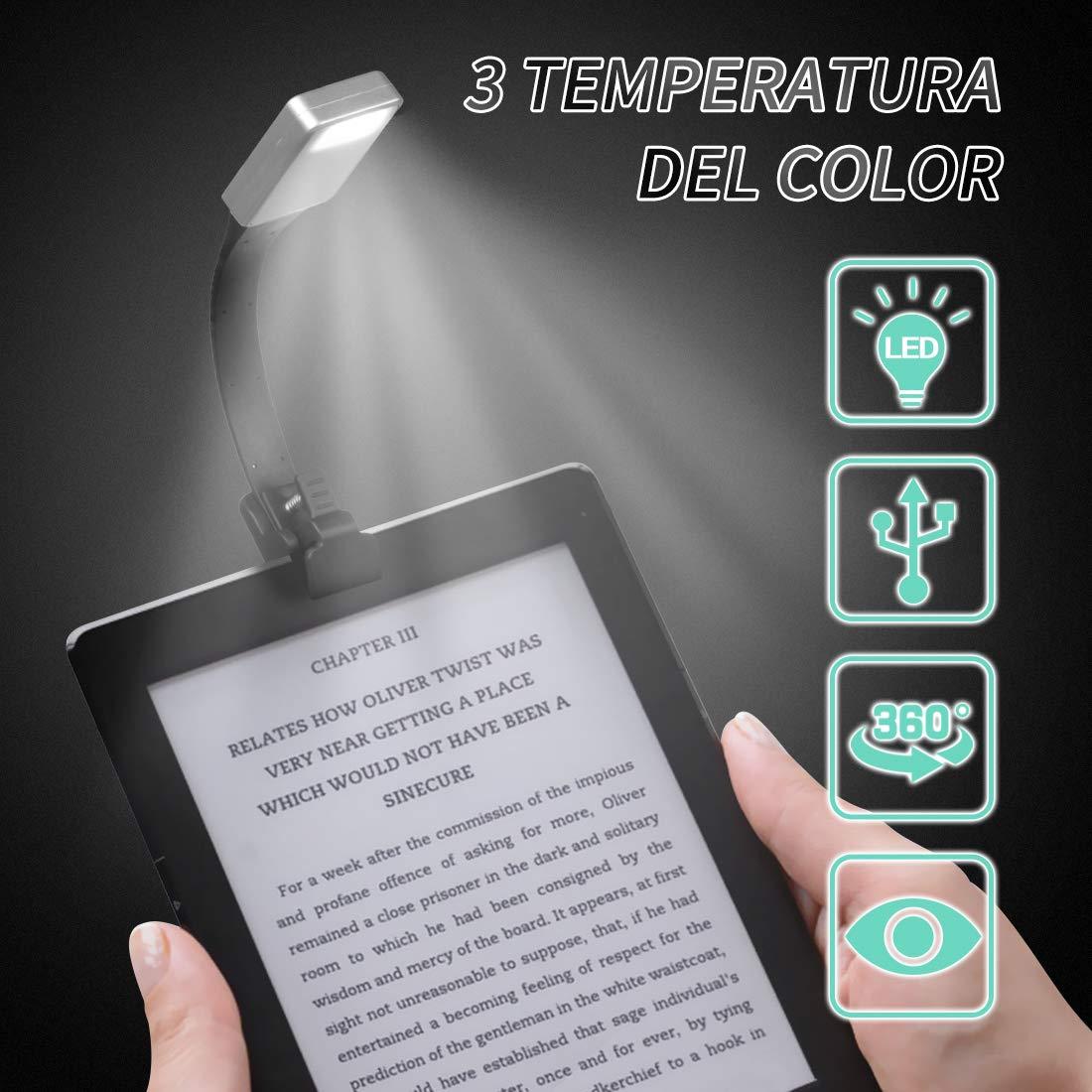 lampada a luminosità regolabile, adatta per libri ed ebook reader