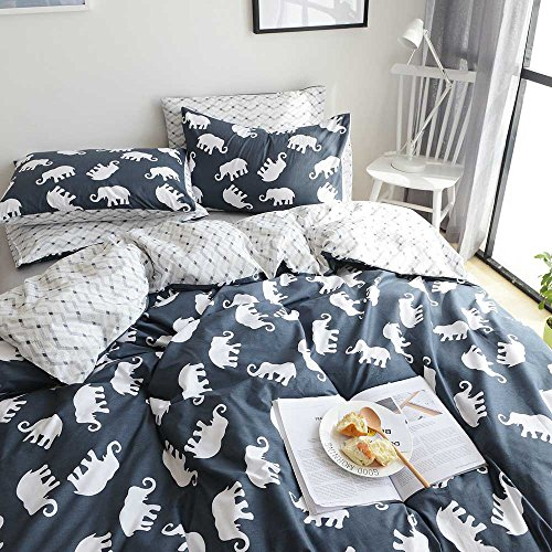 AMZTOP Elephant Print Kids Duvet Cover Twin XL Cotton Navy/Grey,Reversible Animal Geometric Grid 3 Pieces Dormitory Bedding Cover Sets Twin Boys Girls Zipper Closure, NO COMFORTER by AMZTOP (Image #2)