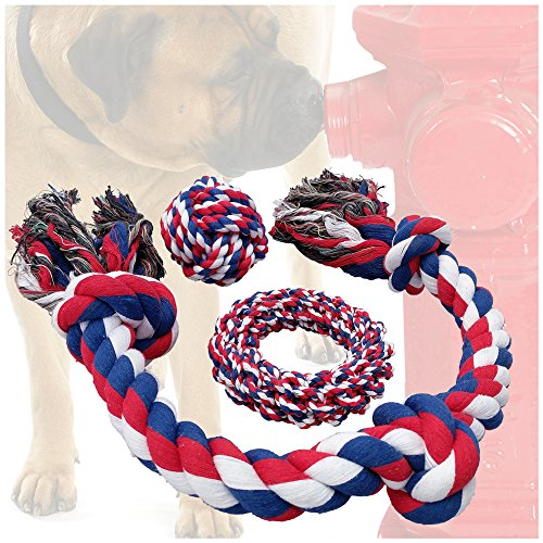 Otterly Pets Dog Toys (BIG SIZE 3-PACK) – 34-Inch 3-Knot, 6-Inch Rope Ring, 4-Inch Ball – Tough Durable (Not Indestructible) Ropes Toy Set for Medium to Large Dogs