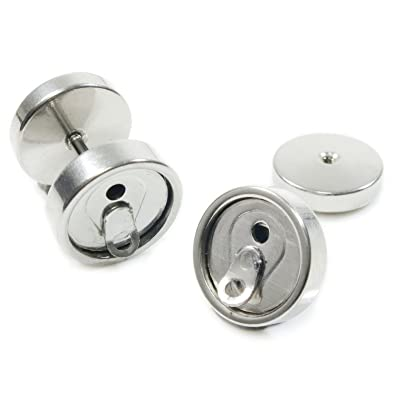 Cameleon-Shop-Pendientes de falsos Plug-Dilatador acero inoxidable-Lata de Soda, color plateado: Amazon.es: Joyería