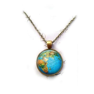 Amazon globe necklace world map necklace map pendant world amazon globe necklace world map necklace map pendant world traveler necklace glass necklace traveler pendant jewelry gumiabroncs Images