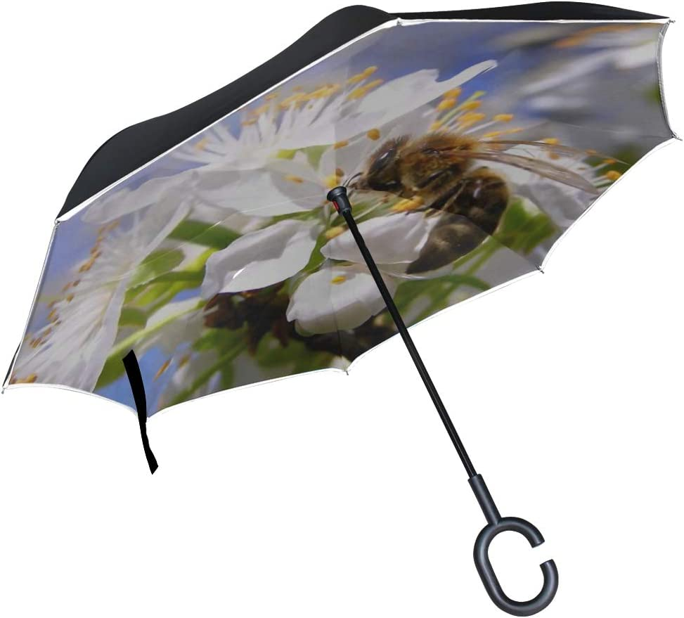 Double Layer Inverted Inverted Umbrella Is Light And Sturdy Blossoming Branch Flowers Cherry Plum Reverse Umbrella And Windproof Umbrella Edge Night