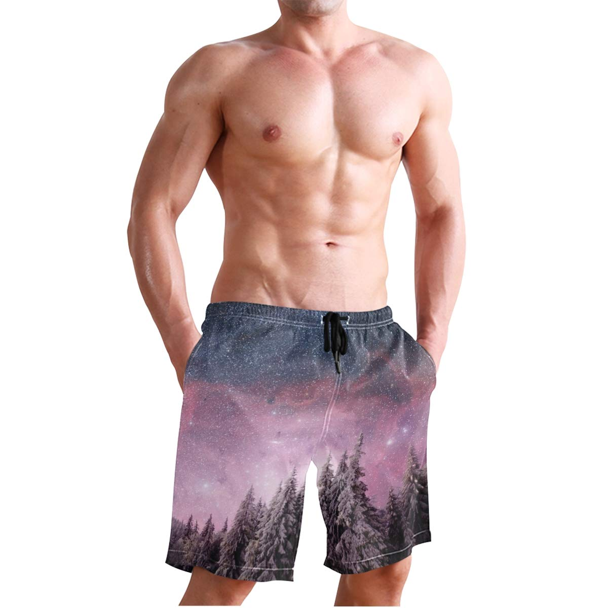 Aluys boutique Mens Swim Trunks Quick Dry Magical Winter Landscape Printed Holiday Beach Board Shorts with Mesh Lining