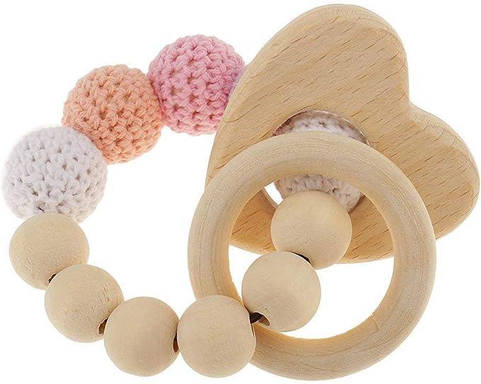 RETYLY 1 Piece Anneaux de Dentition en Bois de Perle Parel Jouet hochet de Accessoires de Dentition de Bebe Coeur Multicolore