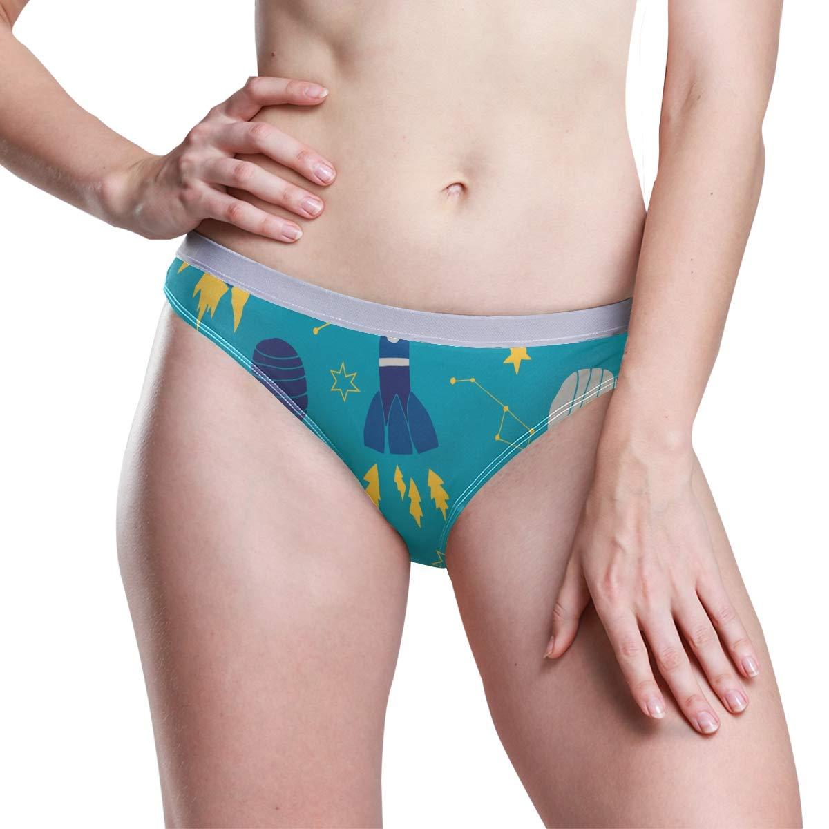 MALPLENA Womens Hipster Panty Spaceflight Rockets Stretch Bikini