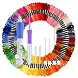 Paxcoo 100 Skeins Embroidery Floss Cross Stitch Thread with Magic Embroidery Pen Punch Needle Kit for Friendship Bracelet String