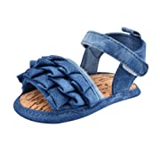 Weixinbuy Newborn Infant Toddler Girls Wrinkles Antislip Crib Shoes Sandals,Blue,0-6 Months