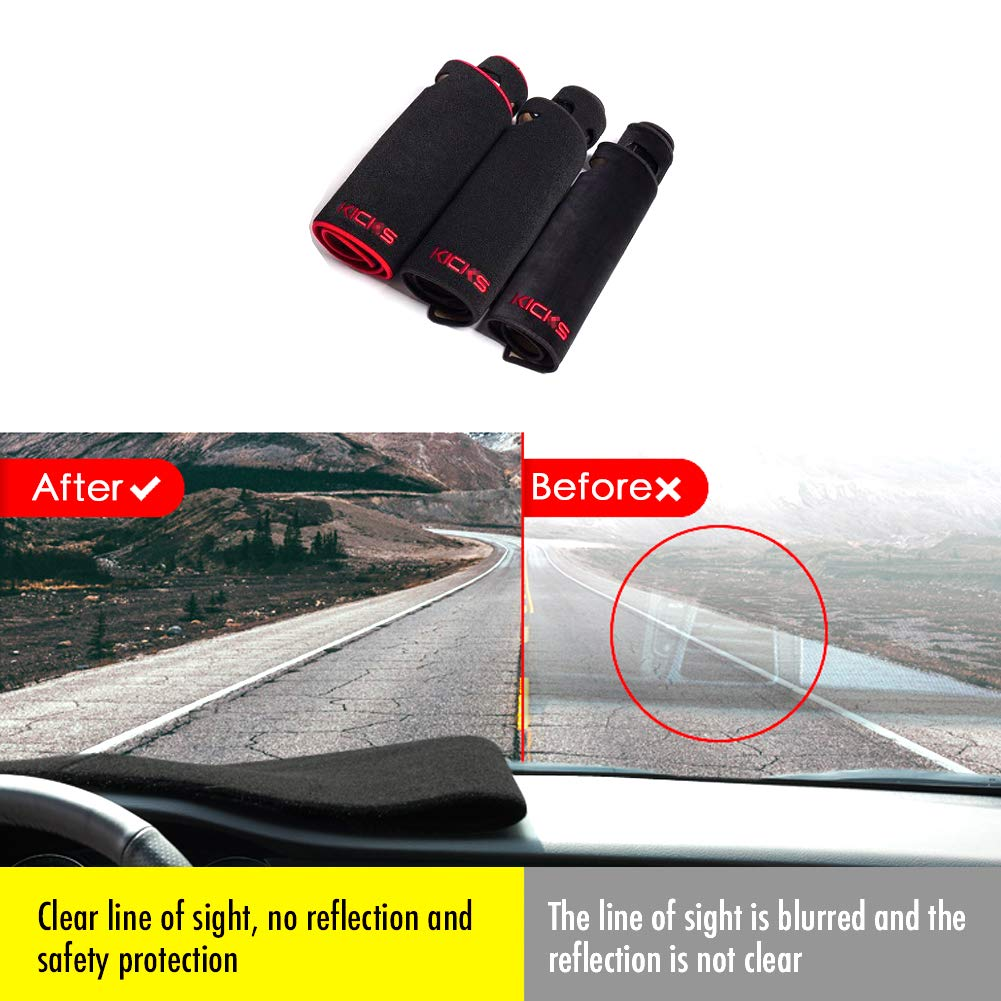 PGONE Custom Fit Dashboard Black Center Console Cover Dash Mat Protector Sunshield Cover Pad Carpet for Nissan Kicks 2017 2018 2019 Red