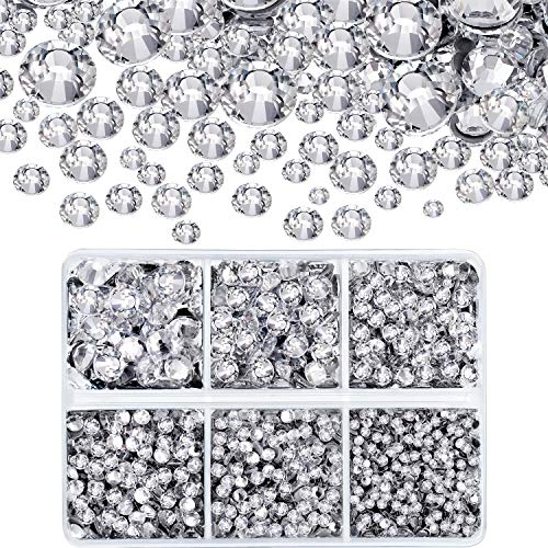(4000 Pieces Mixed Size Hot Fix Round Crystals Gems Glass Stones Hotfix Flat Back Rhinestones (Clear Color))