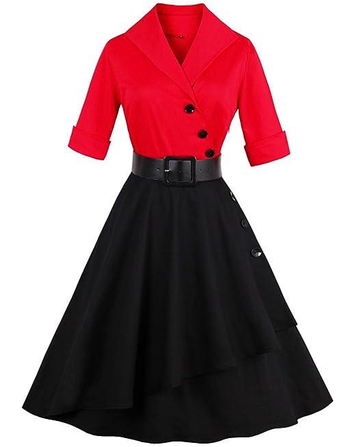 9faabea96f5 ZAFUL Mujer Vestido Vintage 50s Audrey Vestidos de Fiesta Cortos Mangas  Cortas Cuello V con Cinturón Tallas Grande Rojo XL: Amazon.es: Ropa y  accesorios