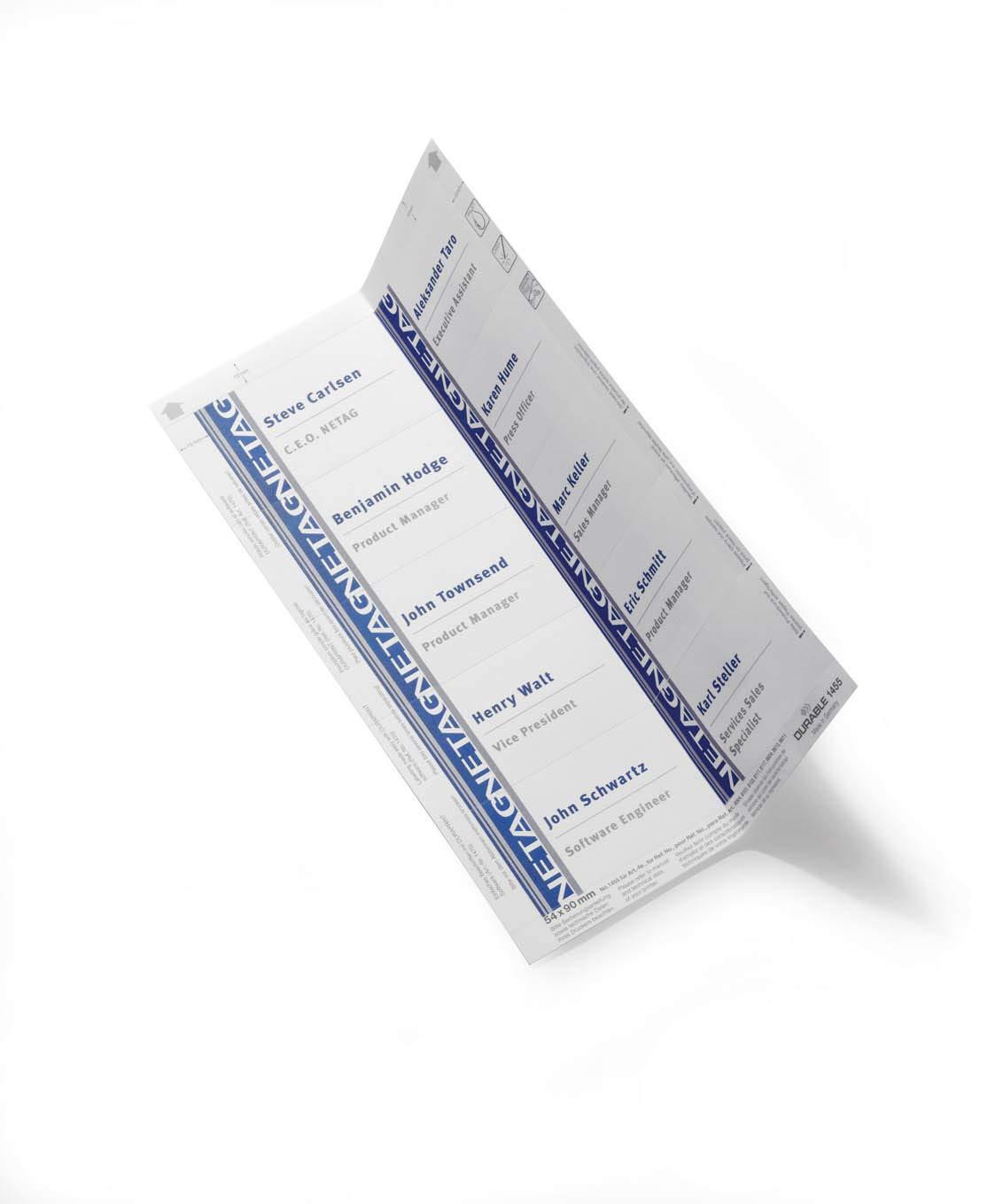 color blanco Pack de 200 cartulinas para impresi/ón profesional de portanombres microperforadas con esquinas redondeadas 54 x 90 mm A4 Durable Badgemaker