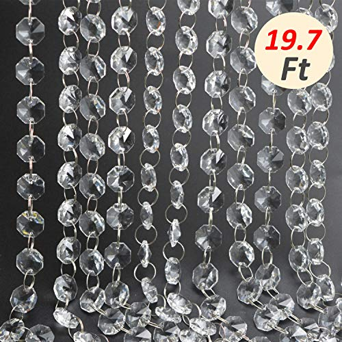 19.7 Ft Clear Crystal Beads Clear Chandelier Bead Lamp Chain for Wedding Party Tree Garlands Decoration, Gems Bead Strands, Tree Garlands, Christmas Wedding Party Celebration Decoration