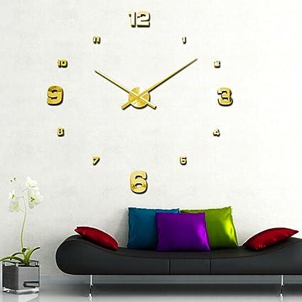 YESURPRISE Reloj de Pared Moderno DIY Reloj Dorado Rico Grande de Pared Metal 3D Pegatina para