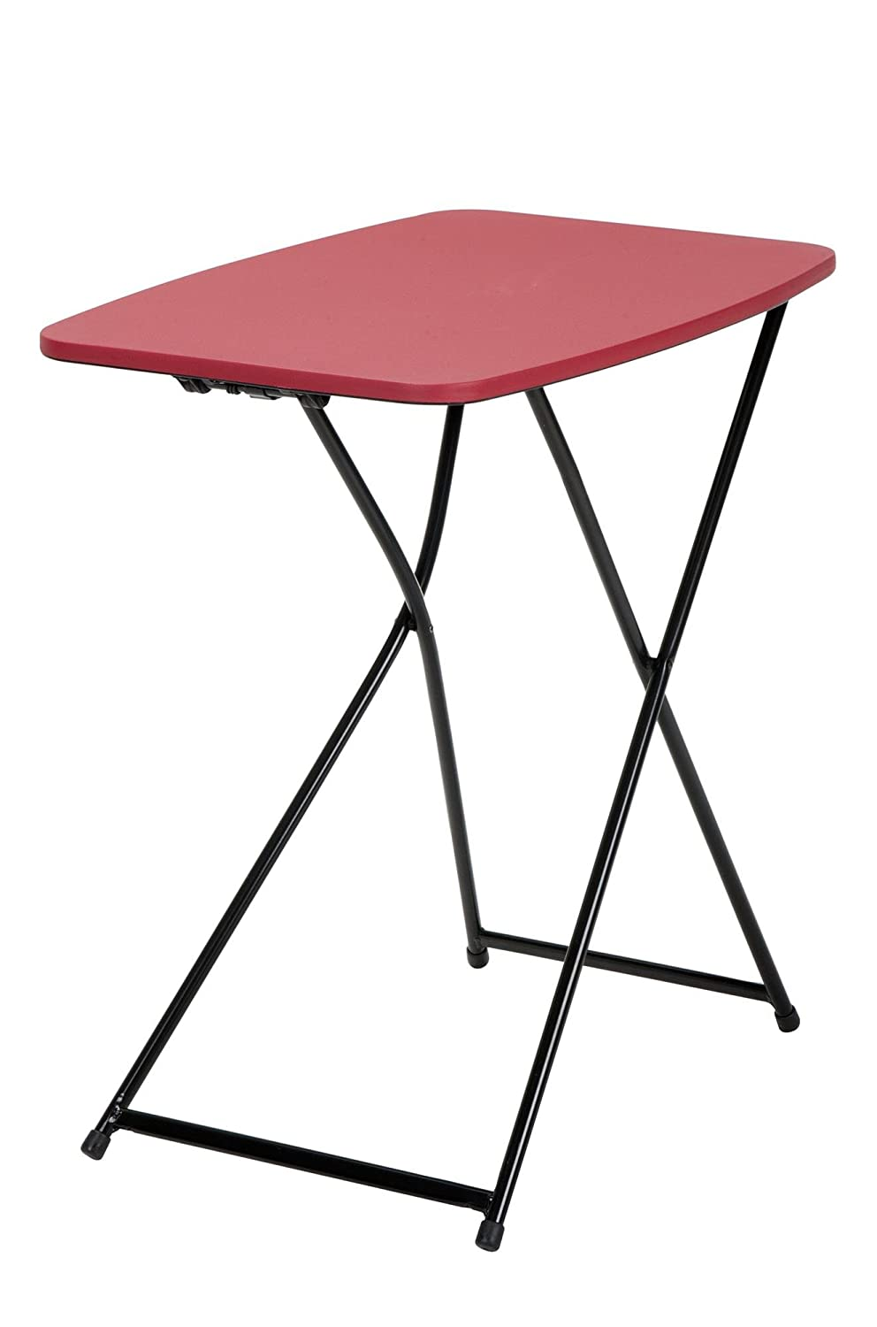 COSCO 18 x 26 Indoor Outdoor Adjustable Height Personal Folding Tailgate Table, Red, 2-pack