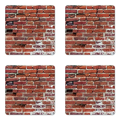 Lunarable Brick Wall Coaster Set of 4, Worn out Brick Wall Design Ornamental Vintage Architecture Pattern Print, Square Hardboard Gloss Coasters for Drinks, Redwood Beige