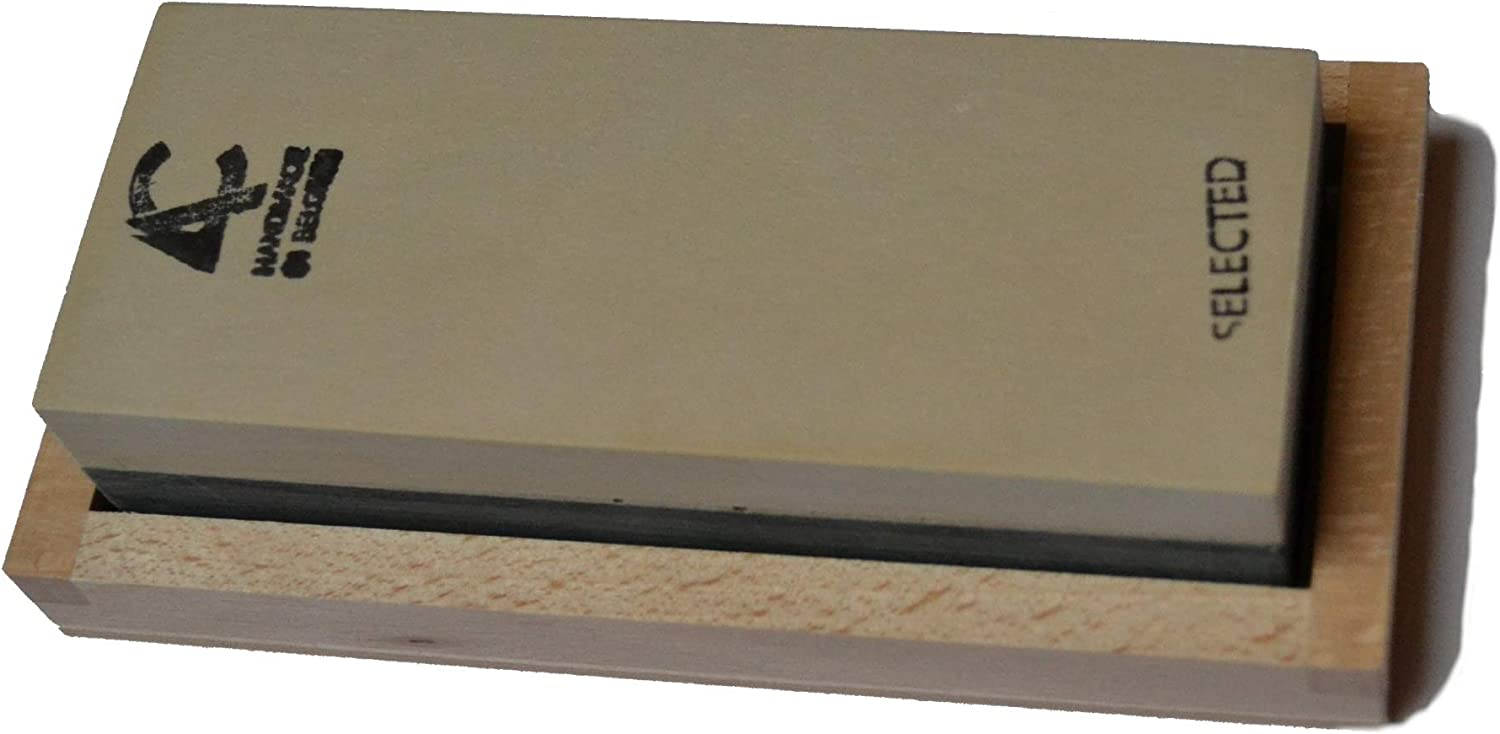 natural sharpening stone with wooden box and slurry stone 100 x 40 mm Coticule Selected Whetstone
