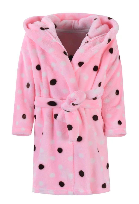 Ameyda Girls Polka Dots Printed Flannel Hoodie Robe Fleece Bathrobe With Hood
