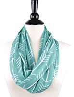 Womens Arrow Patterned Infinity Scarf with Zipper Pocket, Summer Fashion Scarves