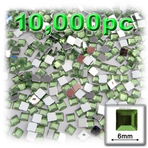 工芸のアウトレット10000-piece正方形ラインストーン、6 mm、ペリドットライトグリーン   B00668UKZK