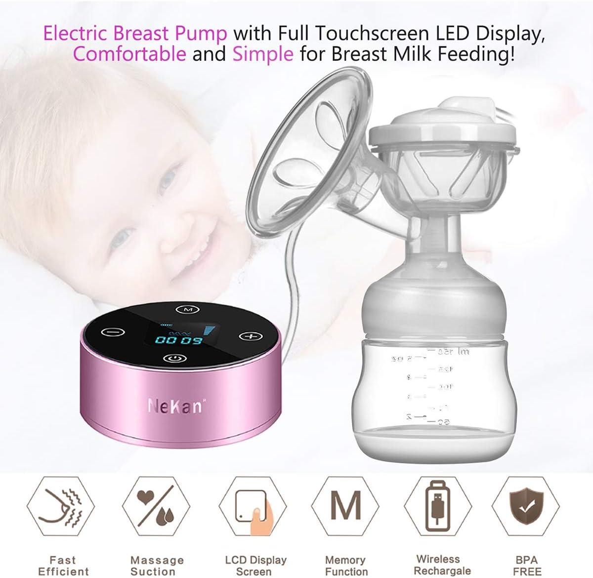 Sacaleches El/éctrico masaje de mama Extractor de leche el/éctrico materna Pantalla t/áctil port/átil recargable Smart LCD con 3 modos 9 niveles de succi/ón de leche materna