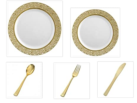 200 Pieces Premium Plastic China Plates Silverware Combo for 40 Guests WHITE with GOLD LACE Border  sc 1 st  Amazon.com & Amazon.com: 200 Pieces Premium Plastic China Plates Silverware Combo ...