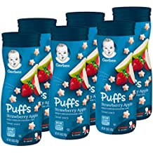 Gerber Graduates Puffs Cereal Snack, Strawberry Apple, Naturally Flavored with Other Natural Flavors, 1.48 Ounce, 6 Count(Packaging may vary)