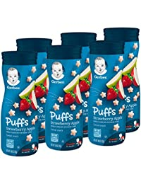 Gerber Graduates Puffs Cereal Snack, Strawberry Apple, Naturally Flavored with Other Natural Flavors, 1.48 Ounce, 6 Count(Packaging may vary) BOBEBE Online Baby Store From New York to Miami and Los Angeles