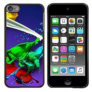 Queen Pattern - FOR Apple iPod Touch 6 6th Generation - paint splash green red yellow white blue - Cubierta del caso de impacto con el patr???¡¯???€????€??&