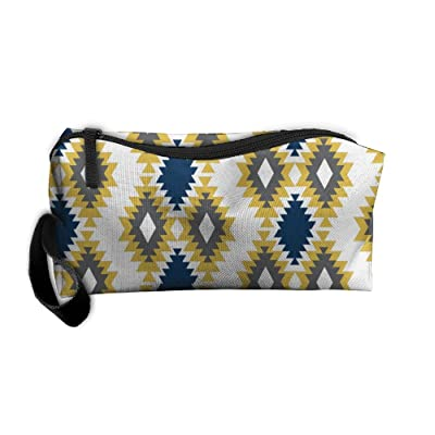 891bb3cf68 SDTTYHNM Travel Bag Cosmetic Bags Brush Pouch Navy And Yellow Tribal  Portable Makeup Bag Zipper Wallet
