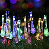 S&G Fairy Garden Lights, Multi-Color 7.85M 40 Solar Powered Waterproof Water Drop String Lights Christmas Decoration LED String Light for Outdoor, Garden, Patio, Yard, Home, Christmas Tree, Parties