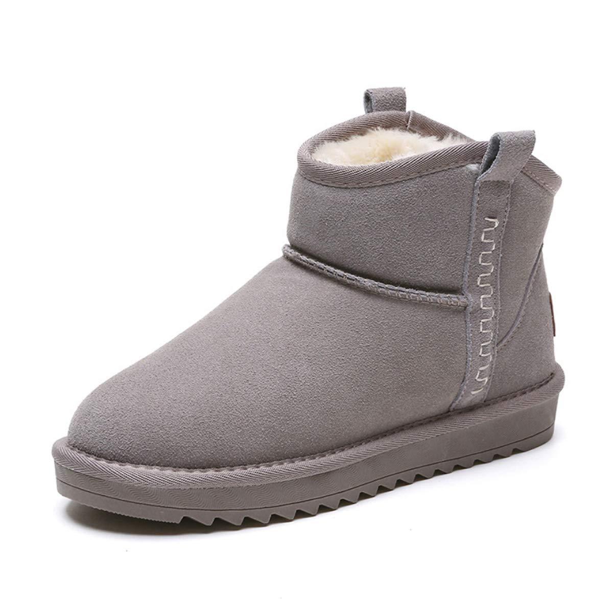 DANDANJIE Damenschuhe Winterstiefel Warm Lining Snow Stiefel mit Flat Heel Rutschfeste Ankle Stiefel Schuhe für Girls Ladies
