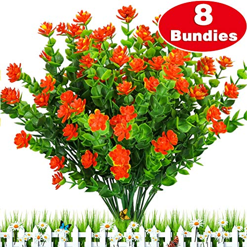 TURNMEON Artificial Flowers, 8 Bundles Faux Outdoor UV Resistant Simulation Greenery Shrubs, Artificial Plants Fake Flowers Indoor Outside Hanging Planter Garden, Office Home Wedding Decor
