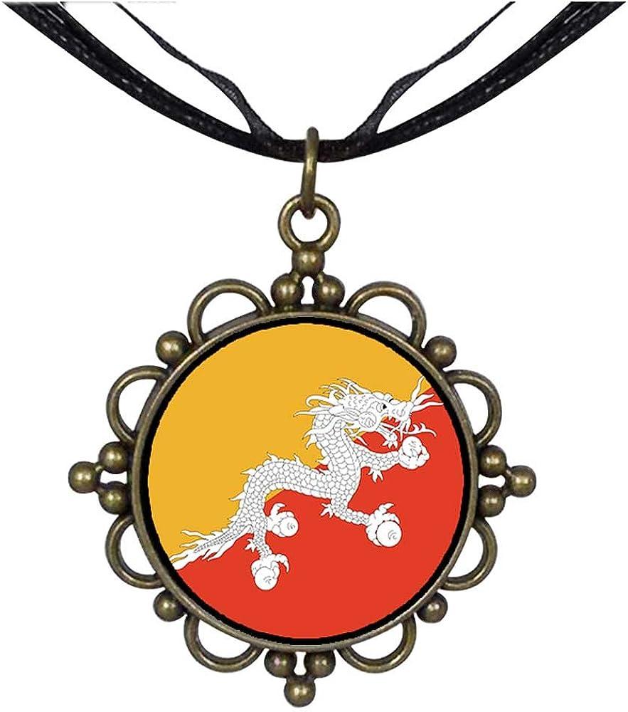 GiftJewelryShop Bronze Retro Style Bhutan Flag Round Flower Pendant Charm Necklaces