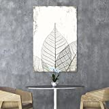 wall26 Canvas Wall Art - Black and White Leaf Vein on Rustic Background - Giclee Print Gallery Wrap Modern Home Decor Ready to Hang - 16x24 inches
